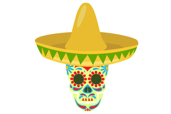 Download Free Sugar Skull Wearing A Sombrero Svg Cut File By Creative Fabrica for Cricut Explore, Silhouette and other cutting machines.