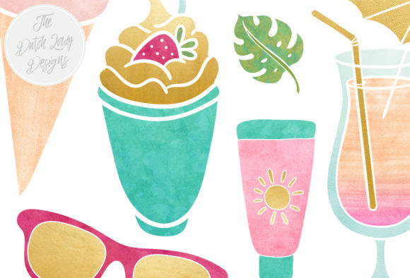 Print on Demand: Summer & Beach Clipart Set Graphic Illustrations By daphnepopuliers - Image 4