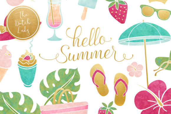 Print on Demand: Summer & Beach Clipart Set Graphic Illustrations By daphnepopuliers