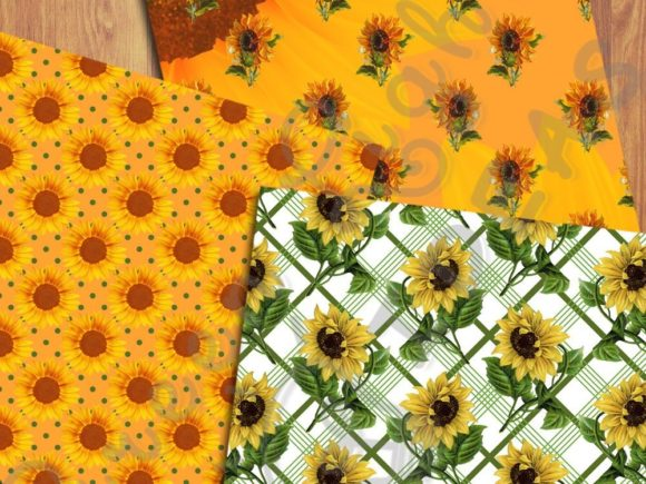 Sunflower Digital Papers Graphic Backgrounds By GreenLightIdeas - Image 2