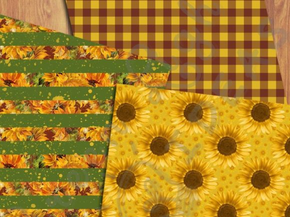 Sunflower Digital Papers Graphic Backgrounds By GreenLightIdeas - Image 3