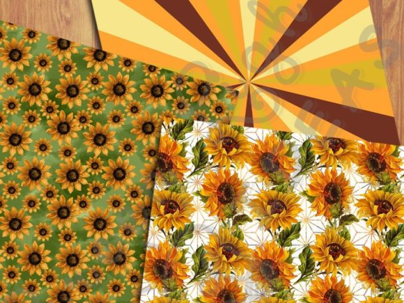 Sunflower Digital Papers Graphic Backgrounds By GreenLightIdeas - Image 4
