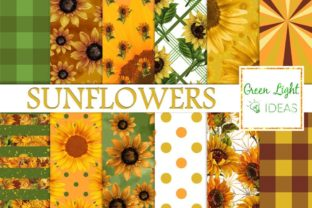 Sunflower Digital Papers Graphic By GreenLightIdeas