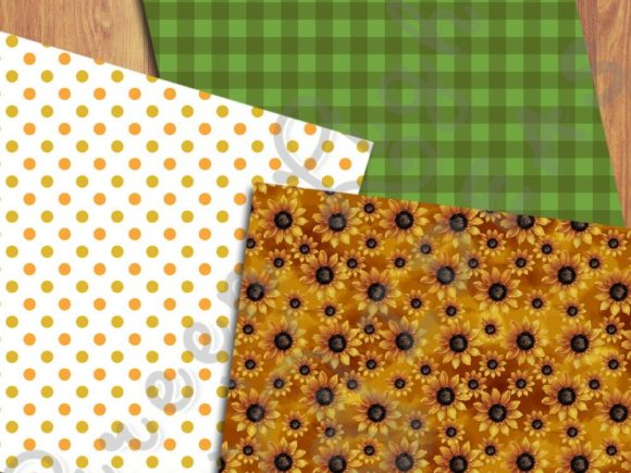 Sunflower Digital Papers Graphic Backgrounds By GreenLightIdeas - Image 5