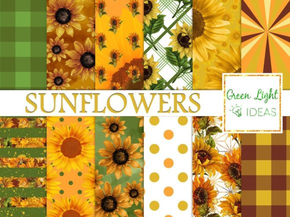 Sunflower Digital Papers Graphic Backgrounds By GreenLightIdeas