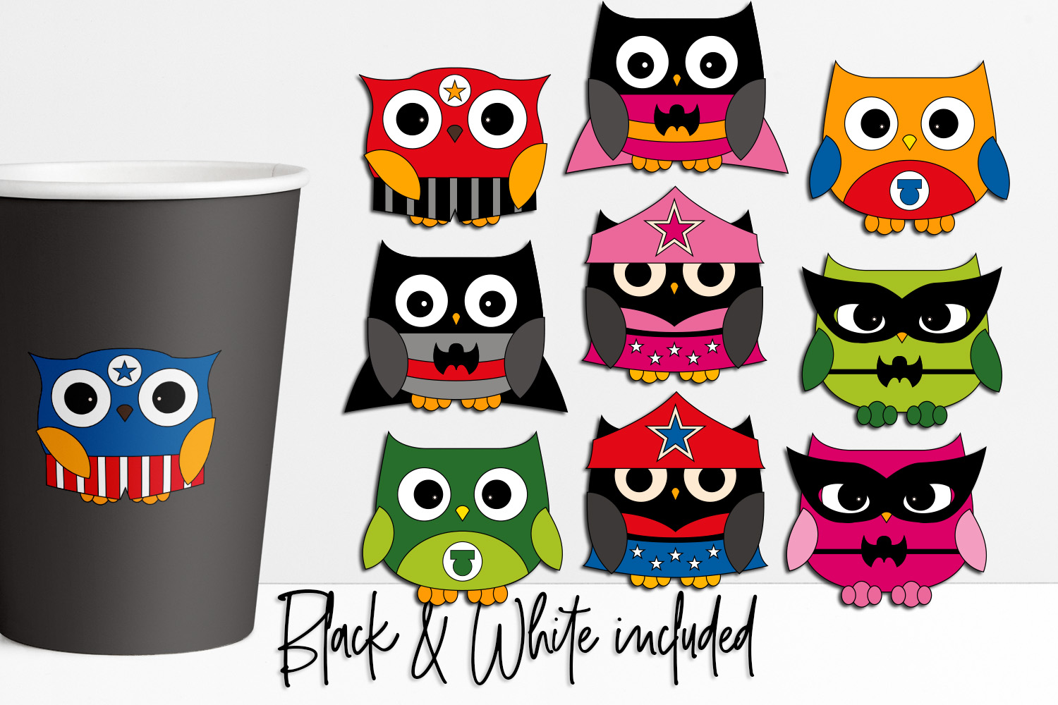 Download Free Superhero Owls Graphic By Darrakadisha Creative Fabrica for Cricut Explore, Silhouette and other cutting machines.