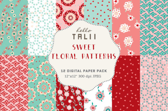 Sweet Floral Digital Papers Graphic Patterns By Hello Talii