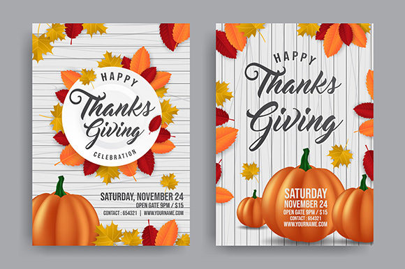 Thanksgiving with Orange Pumpkin for Promo Poster Graphic Print Templates By indostudio