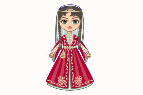 Download Free The Doll In The Chechen National Dress Graphic By Zoyali for Cricut Explore, Silhouette and other cutting machines.