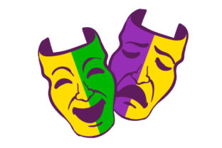 Theatrical Happy and Sad Faces in Festival Colors Mardi Gras Craft Cut File By Creative Fabrica Crafts