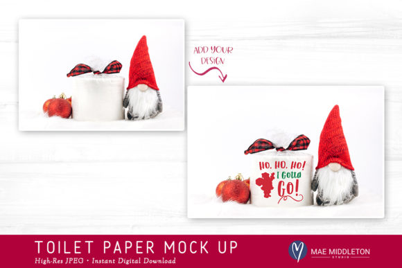 Toilet Paper Roll Mock Up for Christmas Graphic Product Mockups By maemiddletonstudio - Image 2
