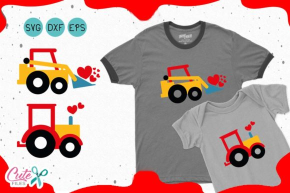 Download Free Tractor With Hearts Valentines Day Svg Graphic By Cute Files for Cricut Explore, Silhouette and other cutting machines.