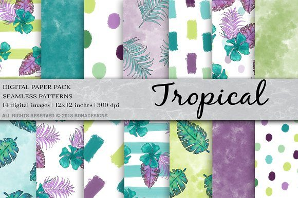 Tropical Background Digital Paper Graphic Patterns By BonaDesigns