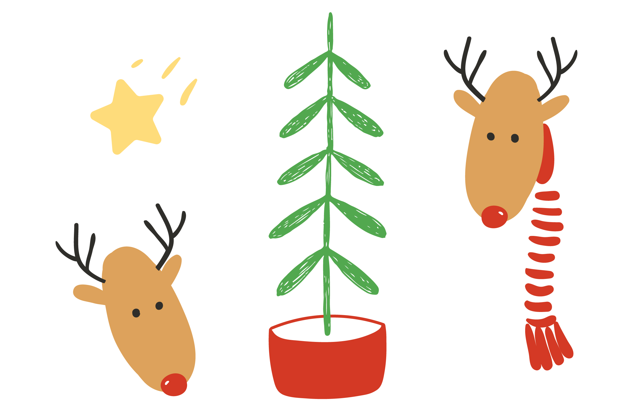 Download Free Two Cute Deers And Christmas Tree Graphic By Maddyz Creative for Cricut Explore, Silhouette and other cutting machines.