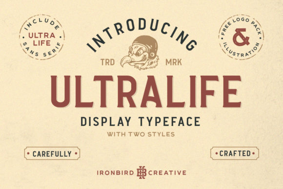 Print on Demand: Ultralife Family Display Font By ironbirdcreative