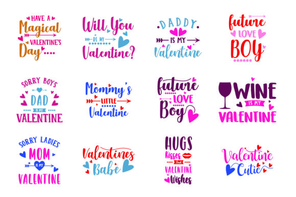 Download Free Valentines Bundle Graphic By Graphicrun123 Creative Fabrica for Cricut Explore, Silhouette and other cutting machines.