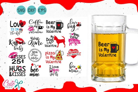 Valentineday  SVG Quotes Bundle for Crafter Graphic Objects By Cute files