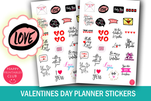 Print on Demand: Valentines Day Planner Stickers Graphic Crafts By Happy Printables Club