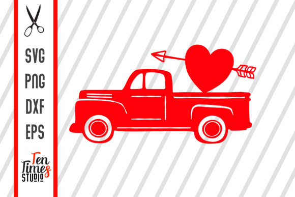 Download Free Valentines Heart Truck Arrow Love Svg Graphic By Ten Times for Cricut Explore, Silhouette and other cutting machines.