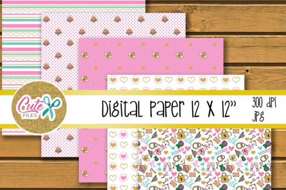 Download Free Valentine S Day Digital Paper Set For Scrapbooking Graphic By for Cricut Explore, Silhouette and other cutting machines.