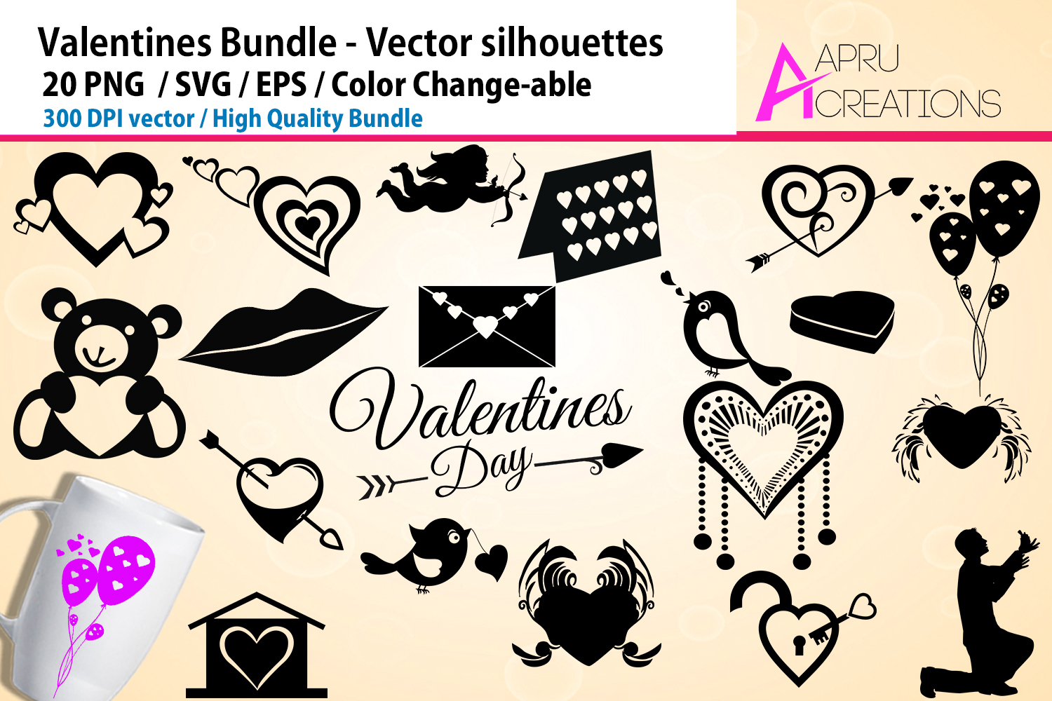 Download Free Valentines Silhouette Graphic By Aparnastjp Creative Fabrica for Cricut Explore, Silhouette and other cutting machines.