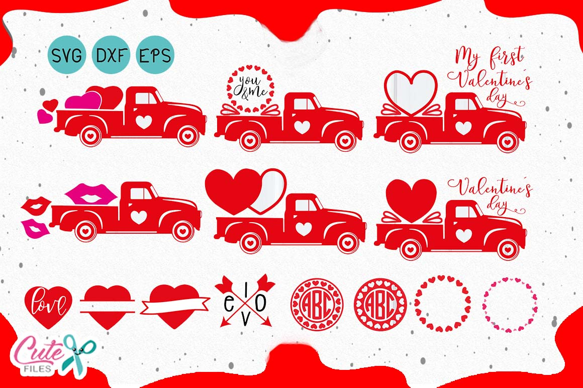 Download Free Valentine S Truck Graphic By Cute Files Creative Fabrica for Cricut Explore, Silhouette and other cutting machines.