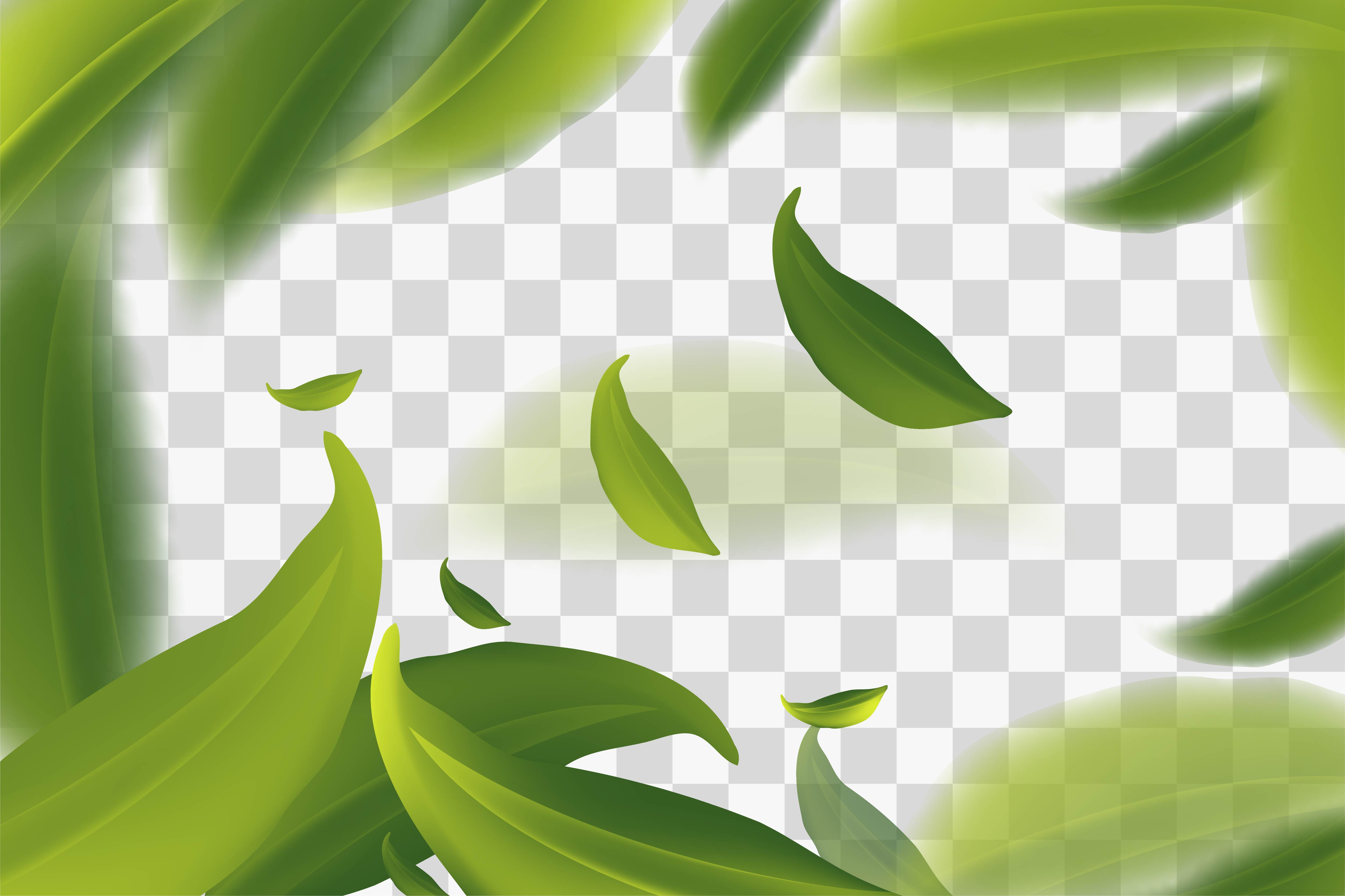 Vector 3d Illustration With Green Tea Leaves In Motion Background Graphic By Ojosujono96 Creative Fabrica