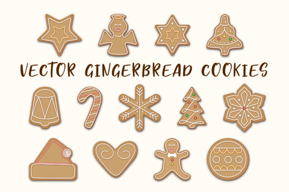 Download Free Vector Gingerbread Cookies Set Graphic By Jennifer Chow Creative Fabrica SVG Cut Files