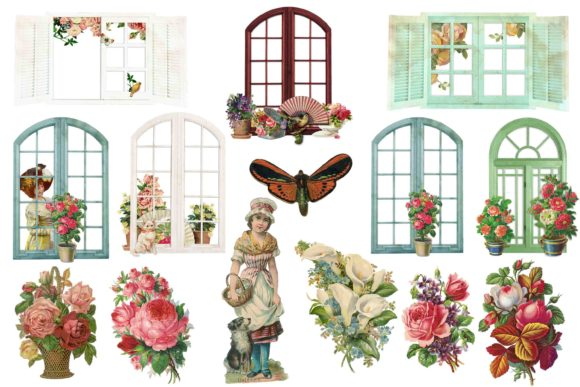 Print on Demand: Vintage Garden Clip Art Graphic Illustrations By retrowalldecor - Image 1