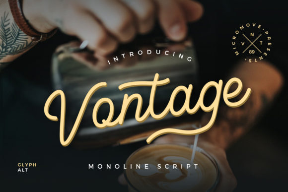 Print on Demand: Vontage Script & Handwritten Font By Micromove