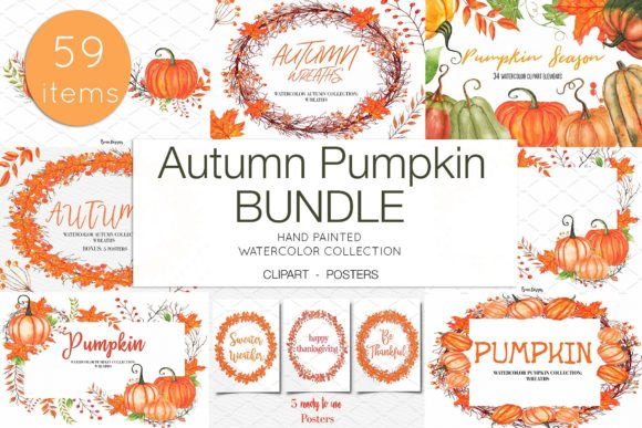 Download Free Watercolor Autumn Pumpkin Clipart Graphic By Bonadesigns for Cricut Explore, Silhouette and other cutting machines.