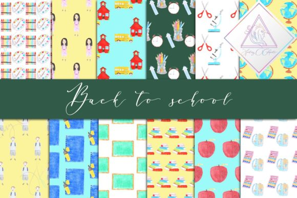 Print on Demand: Watercolor Back to School Digital Paper Graphic Backgrounds By fantasycliparts