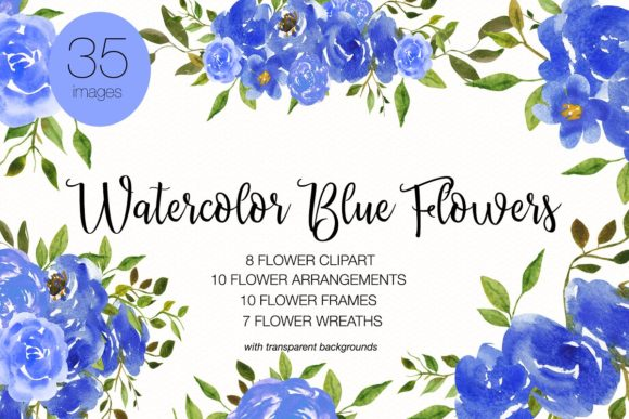 Watercolor Blue Flower Clipart Graphic Illustrations By BonaDesigns