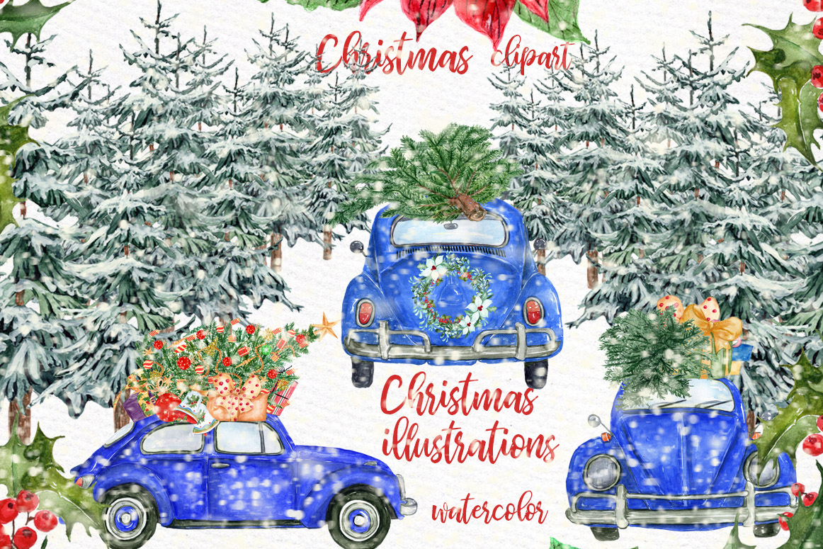 Christmas Illustrations Clip Art.Watercolor Christmas Cars Clipart