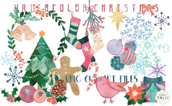Watercolor Christmas Clip Art Graphic Illustrations By Hello Talii
