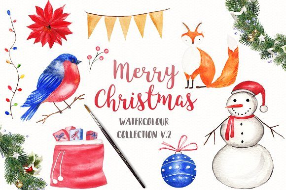 Download Free Watercolor Christmas Collection Graphic By Bonadesigns for Cricut Explore, Silhouette and other cutting machines.