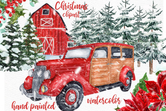 Watercolor Christmas Vintage Car Clipart Graphic Illustrations By LeCoqDesign
