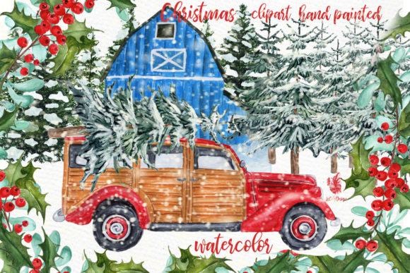 Watercolor Christmas Vintage Car Clipart Grafik Illustrationen von LeCoqDesign