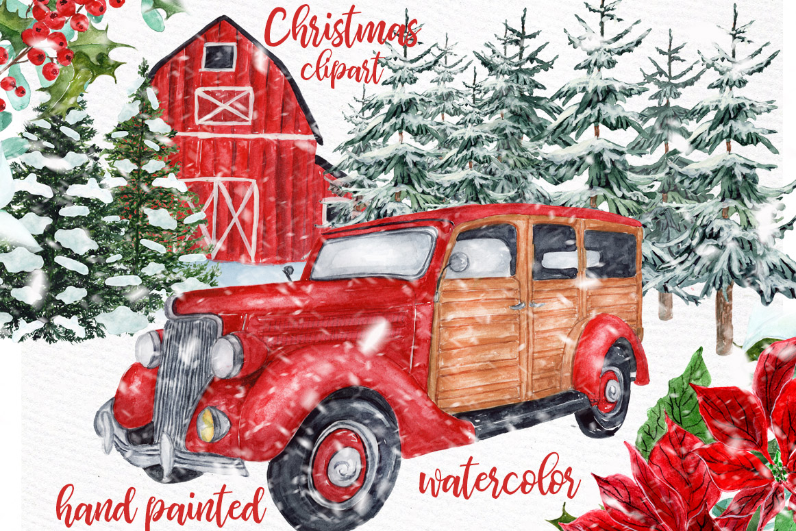Download Free Watercolor Christmas Vintage Car Clipart Graphic By Lecoqdesign for Cricut Explore, Silhouette and other cutting machines.