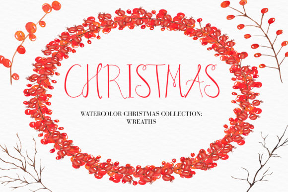 Download Free Watercolor Christmas Wreath Clipart Graphic By Bonadesigns for Cricut Explore, Silhouette and other cutting machines.