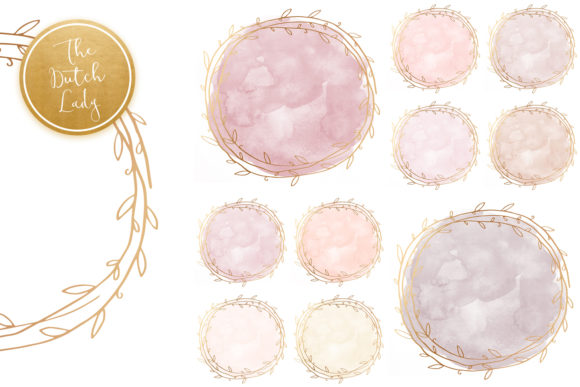 Print on Demand: Watercolor Circle & Floral Border Clipart Graphic Crafts By daphnepopuliers - Image 4