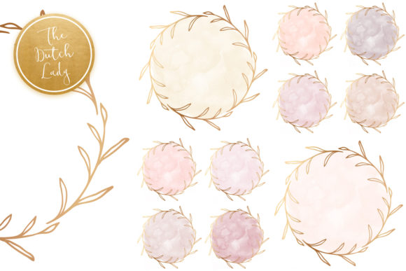 Print on Demand: Watercolor Circle & Floral Border Clipart Graphic Crafts By daphnepopuliers - Image 6
