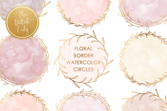 Print on Demand: Watercolor Circle & Floral Border Clipart Graphic Crafts By daphnepopuliers
