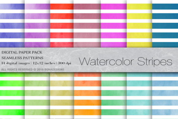 Watercolor Digital Paper Stripes Graphic Backgrounds By BonaDesigns