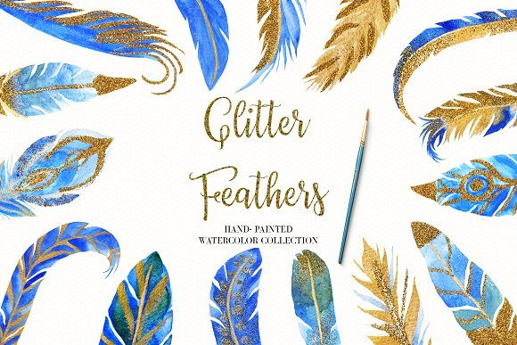Watercolor Feather Collection Graphic Illustrations By BonaDesigns