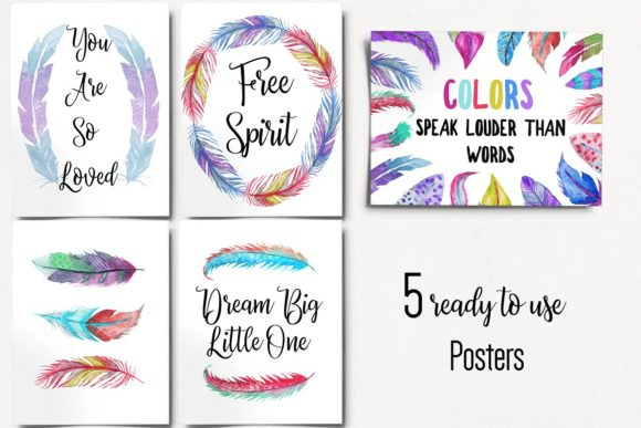 Download Free Watercolor Feathers Collection Graphic By Bonadesigns Creative for Cricut Explore, Silhouette and other cutting machines.