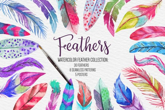 Watercolor Feathers Collection Graphic Illustrations By BonaDesigns