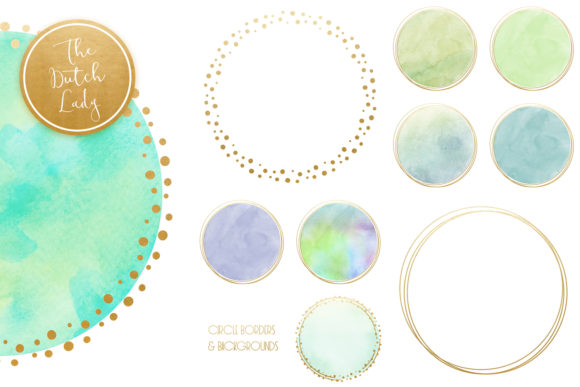 Print on Demand: Watercolor Logo Circle & Border Clipart Set in Aqua Graphic Crafts By daphnepopuliers - Image 4