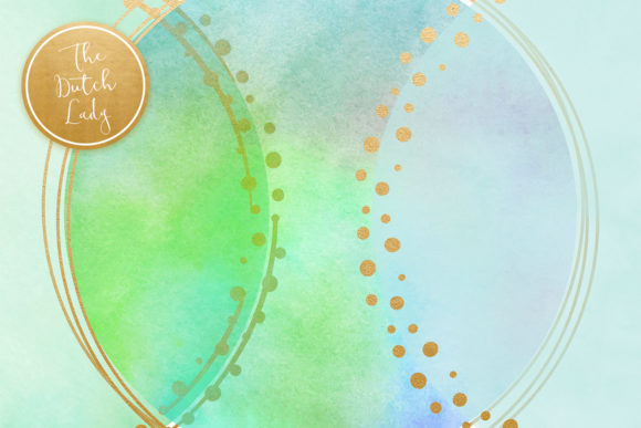 Print on Demand: Watercolor Logo Circle & Border Clipart Set in Aqua Graphic Crafts By daphnepopuliers - Image 5