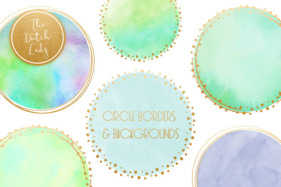 Print on Demand: Watercolor Logo Circle & Border Clipart Set in Aqua Graphic Crafts By daphnepopuliers